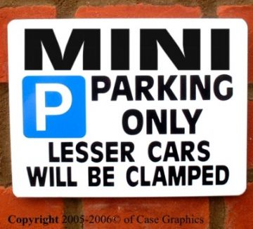 Parking Sign MINI Gift/Joke-any model manua/autol bmw